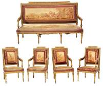 Louis XVI Style Giltwood Carved Salon Suite Cond Report