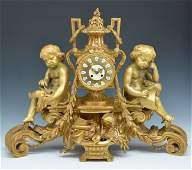 Monumental French Gilt Bronze Mantle Clock 325 wide