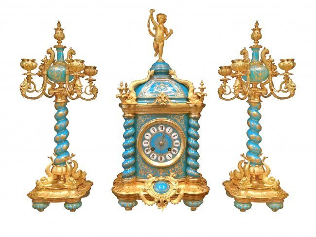 19th Sevres Bronze Mounted Clock Set J.Freres