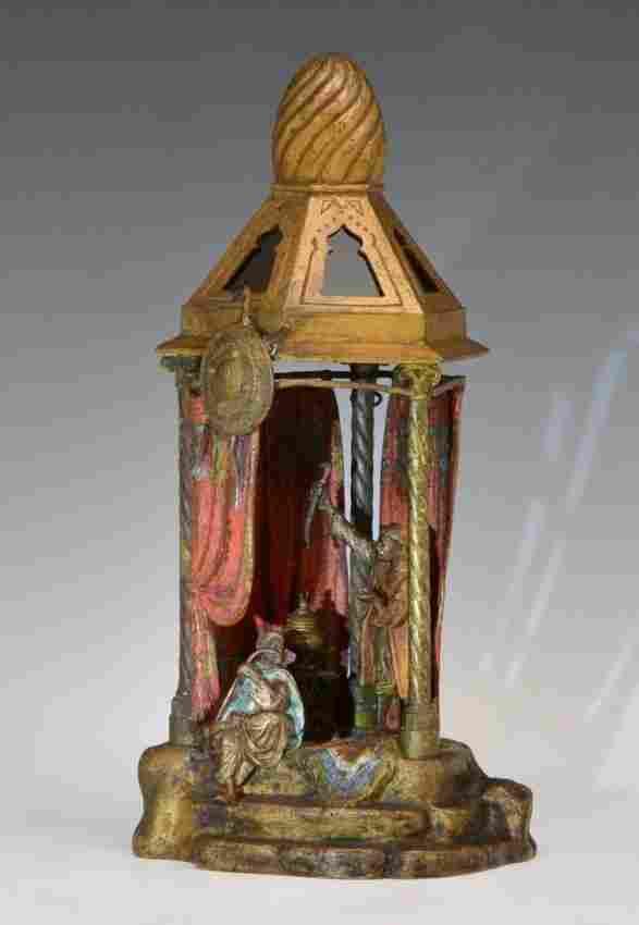 Austrian Bergman Bronze Lamp Arabs Tent Signed 1900