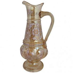 Moser Type Pitcher Enamel and Gilt Highlights c1900