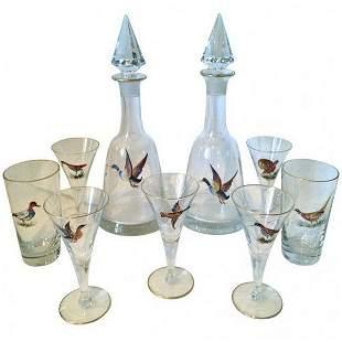 21pcs Raised Enamel Moser Audubon Bar Glasses 20thc