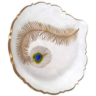 Moser Marquetry Peacock Feather Dish 1900