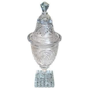 American Brilliant Period Covered Vase c.1900
