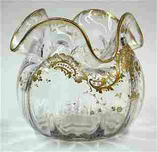 Moser Gilt Decorated Clear Glass Vase c.1900
