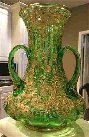 Large Loving Cup Vase by Moser Raised Paste Gilt c.1900