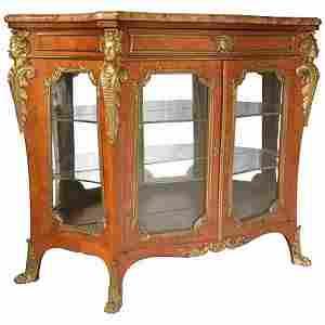 Louis XV style ormolu mounted vitrine, the serpentine