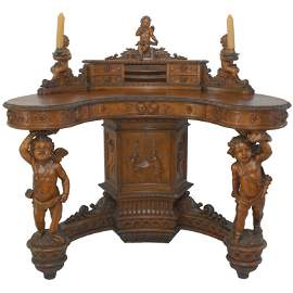 Important Renaissance Revival Walnut Desk by Valentino