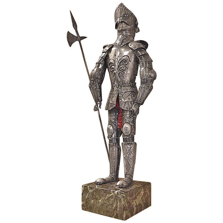 Miniature German 800. Silver Suit of Armor Fine 19thc