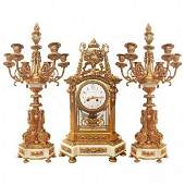 French Crystal Gilt Bronze and Marble Clock Set 19thc