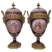 """Pair of Gilt Bronze Mounted """"Enamel"""" Mantle Urns Circa"""