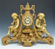 """Monumental French Gilt Bronze Mantle Clock, 32.5"""" wide"""