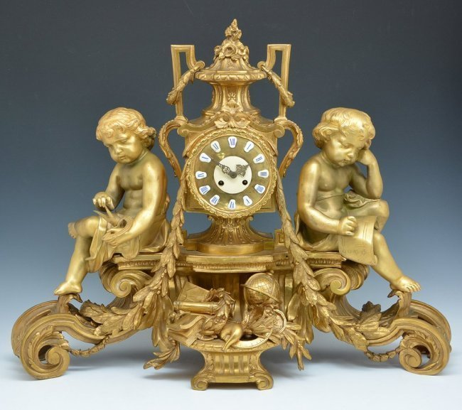 "Monumental French Gilt Bronze Mantle Clock, 32.5"" wide"