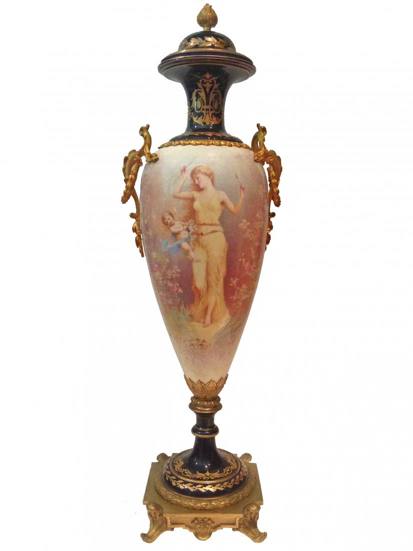 "Monumental 19thc Sevres Urn signed C. Labarre 41"" Tall"