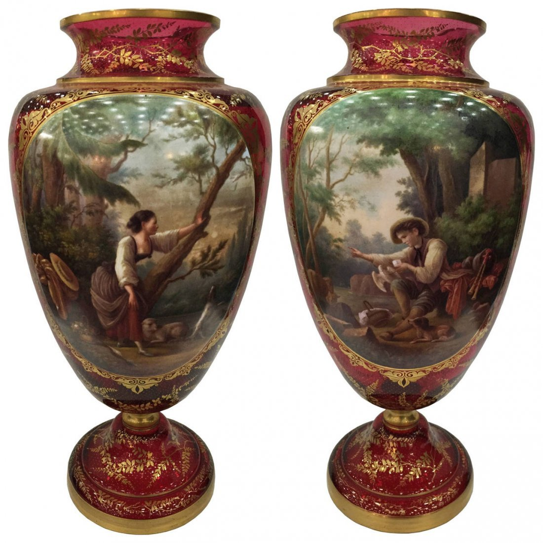 Rare and Important Bohemian Portrait Vases, 19thc.
