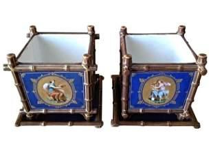 Old Paris Cache Pots w/ Original Underplates 19thc