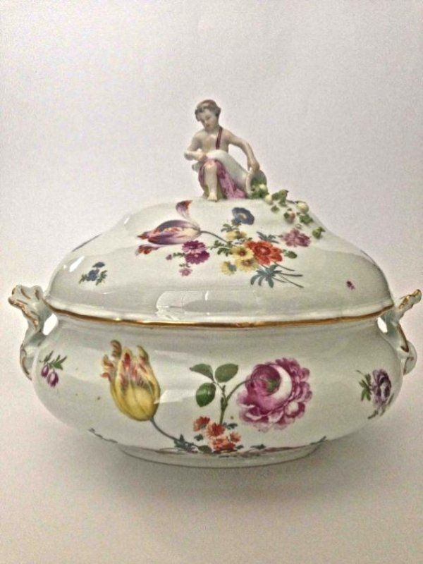 Meissen Figural Oval Tureen and Cover 19thc.