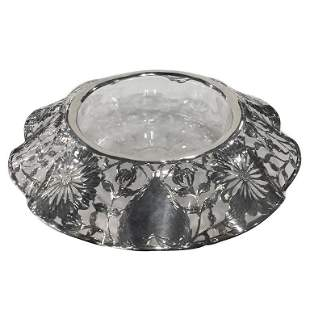 Large American Sterling Overlay Centerpiece c1900