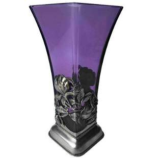 American Sterling and Amethyst Glass Vase c.1900