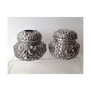 Pair of Sterling Silver Repousse Dressing Table Jars