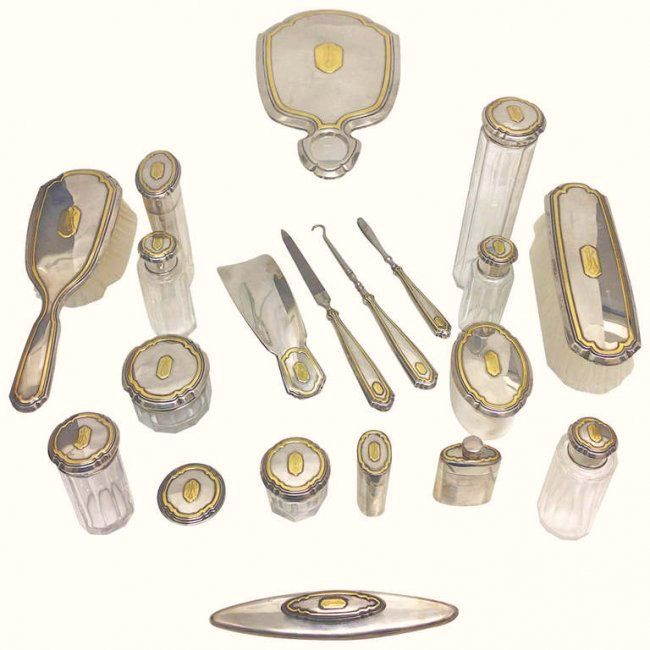 Boxed Ladies 14k Gold and Sterling Travel set 1930
