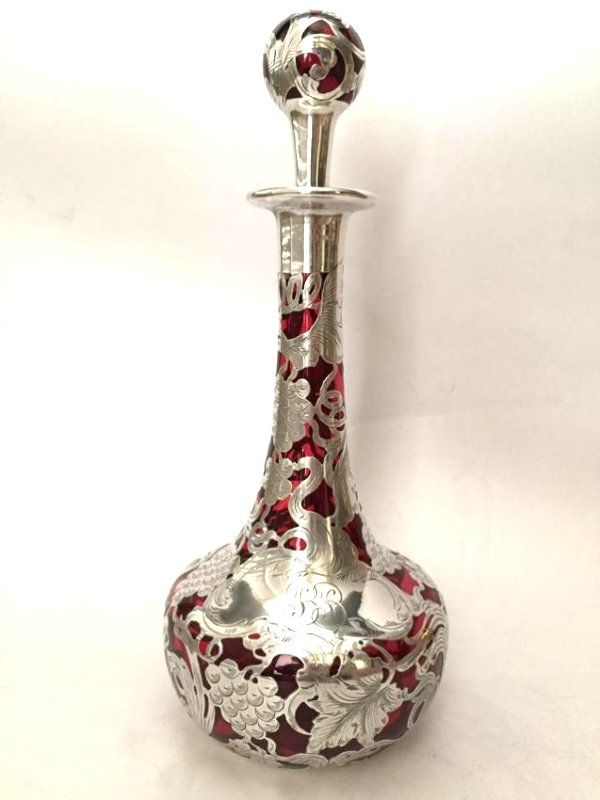 Beautiful Large Red Silver Overlay Decanter c1900 USA