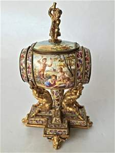 Rare Vienna Enamel Barrel Figural Inkwell, c.1880