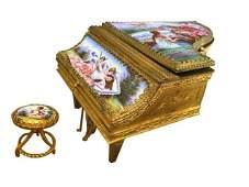 Quality Vienna Enamel Piano Form Music/Jewell Box 19thc