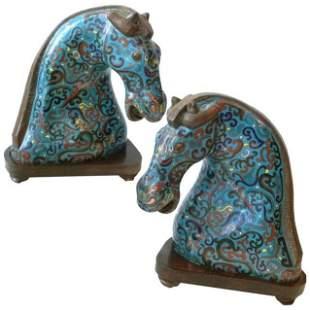 Pair of Chinese CloisonneÌ Horse Heads, circa 1900