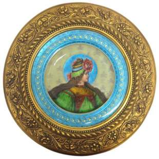 Lovely 19th Century Limoges Enamel Plaque Framed