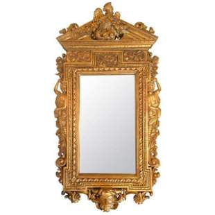 Carved and Gilt Figural Mirror, 20th Century