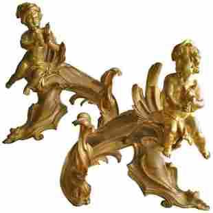 Fabulous French Gilt Bronze Chenets c.1880