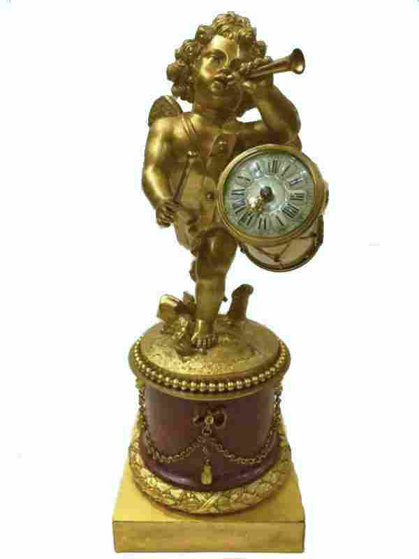 French Gilt Bronze and Marble Drummer Clock 19thc