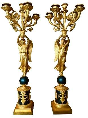 Pair of French Figural Empire Candelabra 19thc