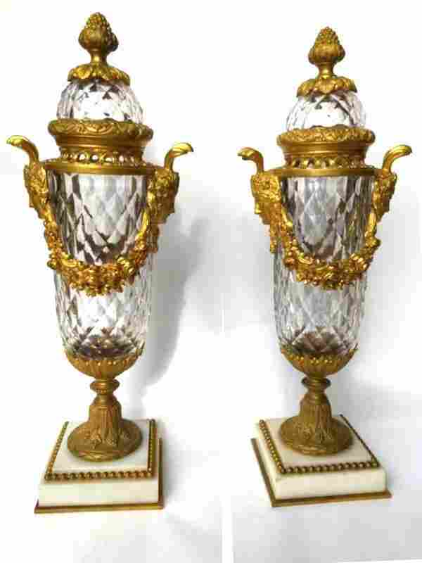 Fantastic Baccarat Crystal and Bronze Lidded Urns 19thc