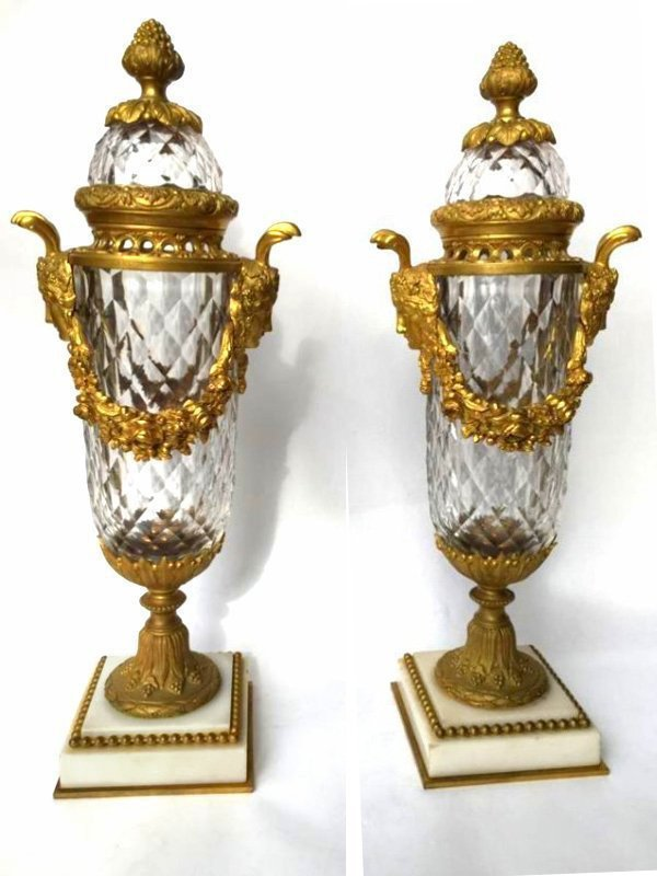 Fantastic Baccarat Crystal and Bronze Lidded Urns 19thc