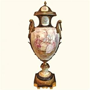 Large Sevres Bronze Mounted Urn Signed 19thc