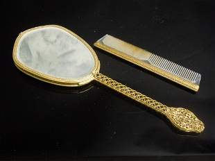 Antique Silver or Bronze Gilded Mirror and Comb