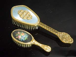Antique Silver or Bronze Gilded Brushers