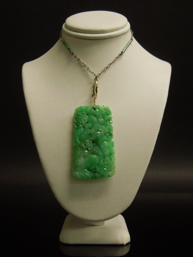 A Chinese Jadeite Pendant With Chain