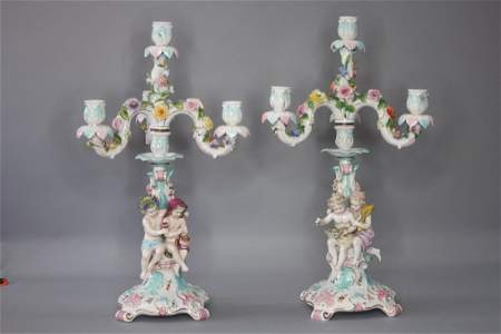 Pair of Germany Porcelain Candle Stands