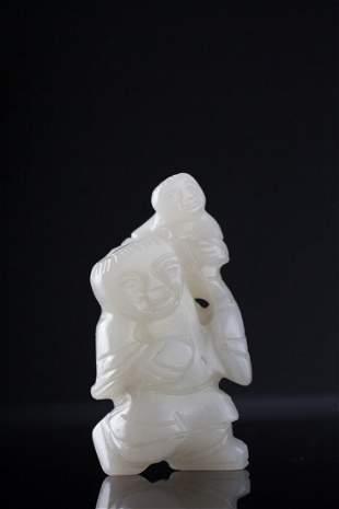 Antique Mutton Fat White Jade Figural Group