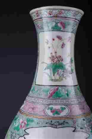 Antique Chinese Famille Verte Bottle Vase