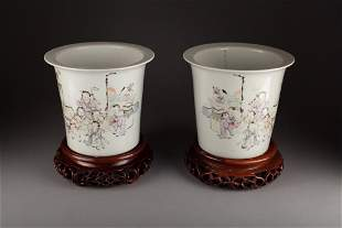 Antique A Pair of Chinese Famille Rose Planters