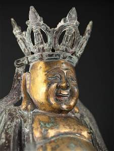 Large Antique Chinese Bronze Laughing Buddha Ming Budai