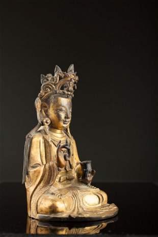 Ming Dynasty Chinese Gilded Bronze Buddha Heavy - NY