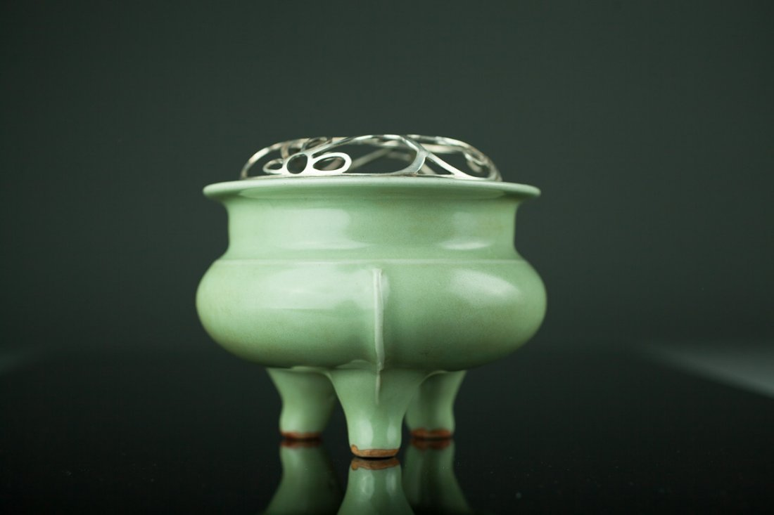 Antique Chinese Celadon Censer Old Silver Cover - MA