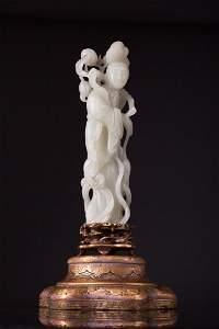 Important Antique Chinese Jade Lamp Figure - Clark