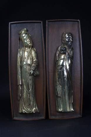 Antique Two Chinese Imortal Wall Hangers