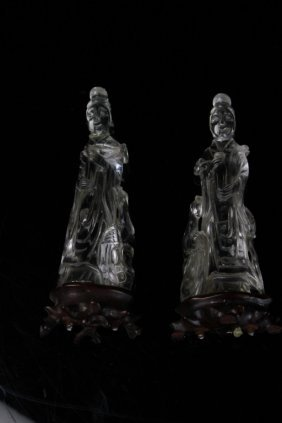 Antique Pair Of Chinese Crastal Carving